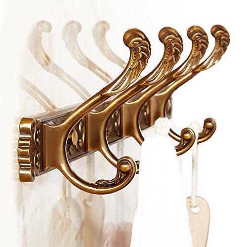 Vejaoo Messing Konstruktion 4 Haken Hakenleiste Handtuchhaken Kleiderhaken Wandmontag Antik Messing Finished Vintage Retro Stil WJ001 (Gold 4 hook)