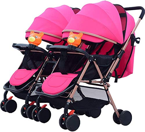 OESFL Twin Baby Stroller Detachable Two-Way Double Light can Sit Reclining Folding Triplet Trolley Bearing Weight 25kg (Color : D)