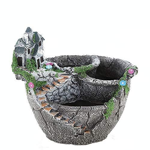 Résine idyllique Vintage Welcome Fun Garden Sign G Mini jardin féerique et Sweet House succulente Cactus Plant Pots Planters Creative pour la décoration ( Couleur : Noir , Taille : 17.8*15.5*15.5cm )