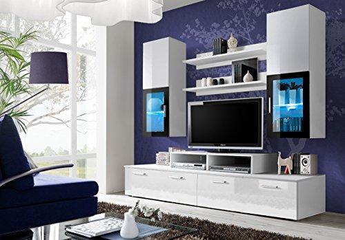 Parete Attrezzata Chamusca Soggiorno Salotto Mobile TV Sala Pranzo in Legno con Pensili, Mensole, Vetrine con Illuminazione LED Design Moderno Elegante 200 x 190 x 34 cm Bianco Lucido Laccato