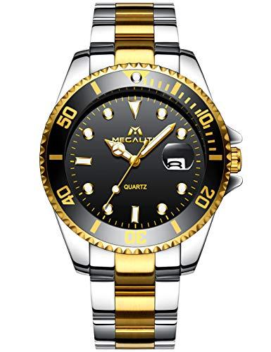 MEGALITH Herrenuhr Gold Edelstahl Herren Armbanduhr Wasserdicht Uhren fur Männer Schwarz Zifferblatt Designer Uhr Leuchtende Analog Datum