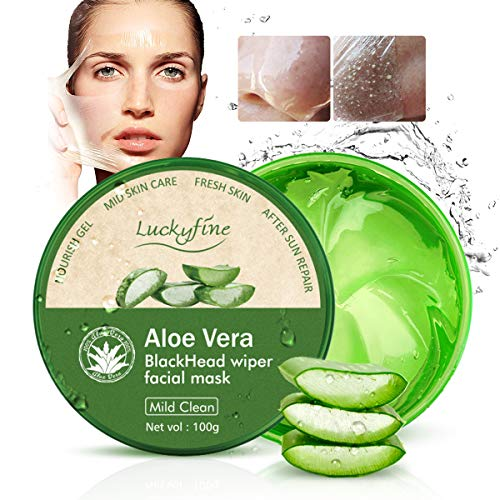 Luckyfine Aloe Vera Peel Off Facial Mask, Blackhead Removal, Purifying Deep Cleansing, Acne Treatment, Oil Control, Facial Moisturizing, Face Whitening, Soothing & Moisture Skin