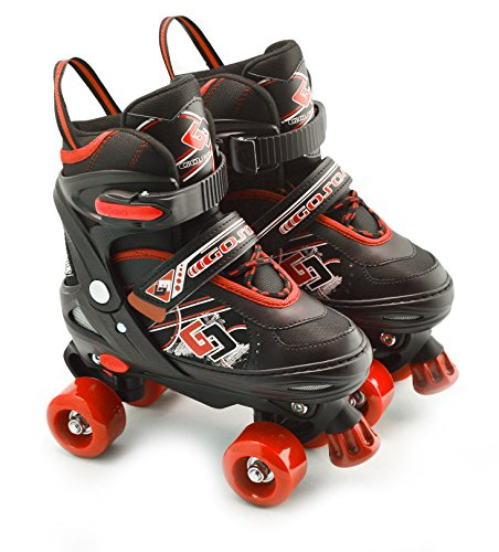 Childs Junior ajustable Quad patines botas para niños 4 ruedas rodillos, Red Medium /UK 2 - 4/