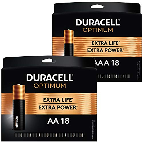 Duracell Optimum AA 18 + AAA 18 Alkaline Batteries - Long Lasting, All-Purpose Double & Triple A - 36 Count