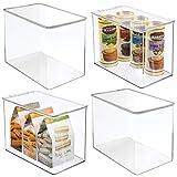 mdesign set da 4 organizer cucina con coperchio – vaschetta da frigo impilabile per cucina e dispensa – capiente contenitore alimenti per tè, caffè e snack in plastica senza bpa – trasparente