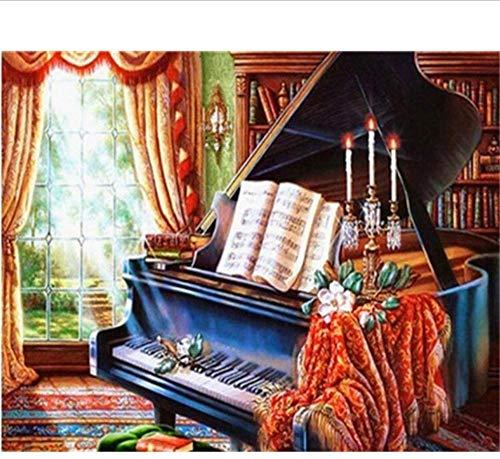 ZJZNB schilderij op nummers, digitaal, olie, knutselen, piano op doek, decoratie, landschap, olie (40 x 50 cm) E-kits startskant decoratie
