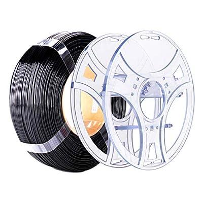 eSUN PETG Refilament and eSpool Kit, Removable and Reusable Empty Filament Spool Fit 3D Printer Refill PETG 1.75mm, 1KG (2.2 LBS) Spoolless Filament, Solid Black