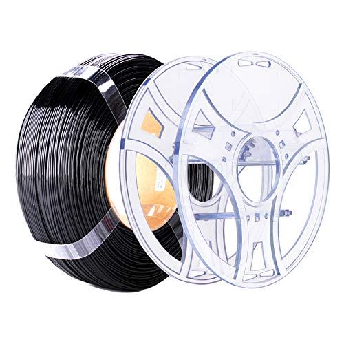 eSUN eSpool e PETG Refilament 1,75 mm, bobina vuota rimovibile e riutilizzabile, compatibile con stampante 3D PETG filamento senza bobina, rotolo da 1 kg ricarica stampante 3D, colore nero solido