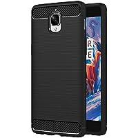 AICEK Funda OnePlus 3/OnePlus 3T, Negro Silicona Fundas para OnePlus 3T Carcasa (5,5 Pulgadas) Fibra de Carbono Funda Case