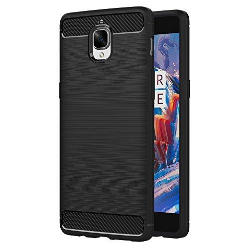 AICEK OnePlus 3T Hülle, Schwarz Silikon Handyhülle für OnePlus 3/OnePlus 3T Schutzhülle Karbon Optik Soft Hülle