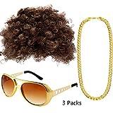PINKE MENS 60S 70S Afro Perücke Set RETRO DISCO Style Hippie Accessoires Für Bühnen Performance Theme Party(A)