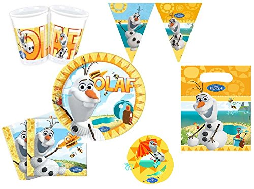 Disney Frozen Olaf Summer Eiskönigin Partygeschirr Partyset Servietten Becher Teller Kindergeburtstag Geschirr