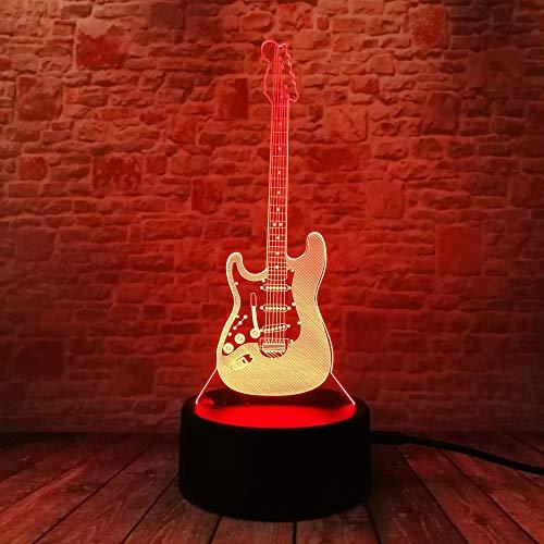 3D Lampe Cartoon 3D Elektrische Musik Gitarre Modell Illusion Lampe LED 7 Farbwechsel Farbverlauf Baby Kind Schlafen Nachtlicht Geschenk