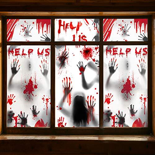 HOTSAN Halloween Dekoration Haunt Fenster Bilder - 3 Stück Riesen Blutige Handabdrücke Zombie Silhouetten, Gruselige Fenster Behandlung Wanddekor Türabdeckungen für Halloween Deko Scary Party Deko
