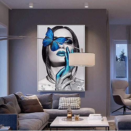 SUNTAOWAN European modern abstract figure art blue butterfly beauty decorative painting white picture frame wall painting mural porch living room home hotel HD micro spray happy life