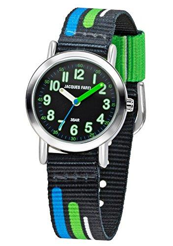 JACQUES FAREL Kinder-Armbanduhr Jungen Analog Quarz Metall Stoffband KPS 403
