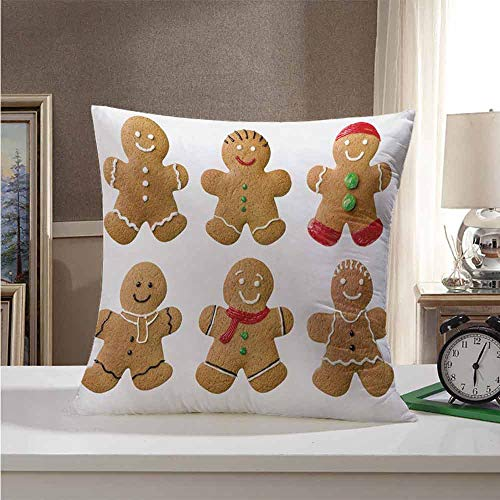 Throw Pillow Covers Gingerbread Man,Vivid Homemade Biscuits Sugary Xmas Treats Sweet Tasty Pastry,Pale Brown Red Green 16