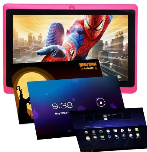 Haehne 7 Zoll Tablet PC, Google Android 4.4, Quad Core A33, 512MB RAM 8GB ROM, Dual Kameras, WiFi, Bluetooth, Kapazitiven Touchscreen, Schwarz
