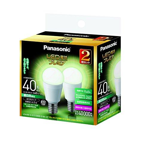 パナソニック LED電球 プレミア 口金直径17mm 電球40W形相当 昼白色相当(4.0W) 小型電球・全方向タイプ 2個入 密閉形器具対応 LDA4NGE17Z40ESW2T