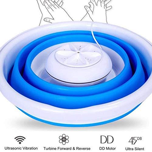 \t USB tragbare Waschmaschine, Mini-Waschmaschine mit klappbarer Badewanne, 2 in 1 tragbare persönliche Ultraschall-Turbowaschmaschine Blue- Upgraded Version