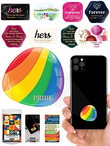 Havongki Lesbian Stickers Couple Premium 3D Clear Dome Accessories for Gifts Cell Phone Case - Flag Stuff Pride LGBT LGBTQ Wedding Engagement Favors - for Girlfriend Women Wife Girls (0152)