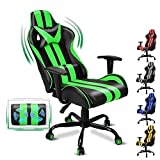 FERGHANA Video Gaming Chair,Massage Gaming Chair,E-Sports Racing Chair with Height and Reliner Adjustment,Headrest and Massage Lumbar Support(Gaming Green)