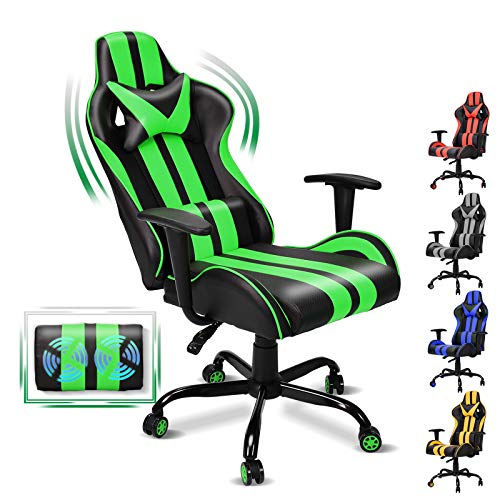 FERGHANA Video Gaming Chair, Massage Gaming Chair, E-Sports Racing Chair with Height and Reliner...