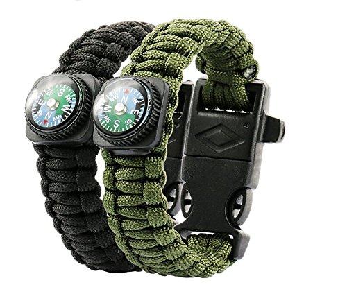ZENDY Paracord Bracelet corde avec grattoir firestarter inoxydable et un sifflet et une boussole attaquant multifonction survie en plein air (Pack2)