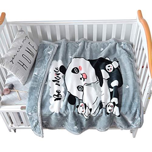 Xief Couverture de bébé pour Lit Gris épais Flanelle Couverture en Molleton, Couverture supplémentaire Douce et Chaude en Peluche Nouveau-né bébé Enfants Doubles Couches pour Pram Lit Panda Imprimer