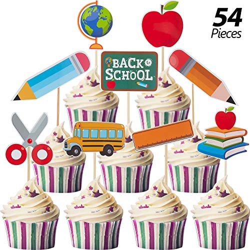 54 Pieces Back to School Cake Topper Welcome Class Cupcake Topper First Day of School Welcome Cake Decorations for Welcome Party School Activities Classroom Decoration Supplies