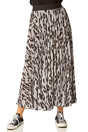Roman Originals Falda plisada con estampado animal para mujer - gris - 34 ES