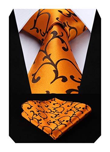 HISDERN Herren Krawatte Paisley Blumen Krawatte & Einstecktuch Set