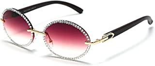 ShSnnwrl Único Gafas de Sol Sunglasses Gafas De Sol Redondas Vintage con Diamantes De Imitación para Mujer, Gafas De Sol Steampun