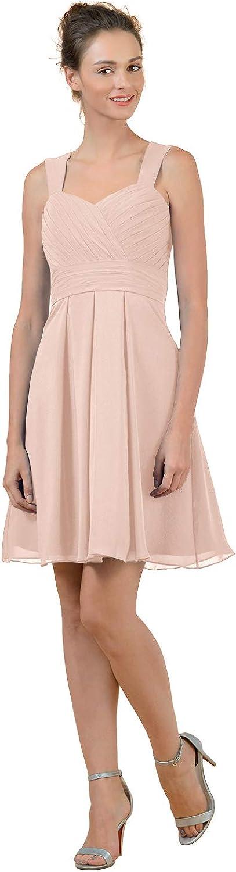 ALICEPUB Short Bridesmaid Dresses Chiffon Party Cocktail Homecoming Dress, Pearl Pink, US6
