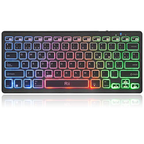 Rii K09 Teclado Inalámbrico Bluetooth, Teclado de Español RGB Colores Retroiluminado - Teclado Bluetooth 4.0 Ultra Delgado con Batería Recargable, Sistemas de iOS, Android, Windows