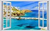 Hafen Schiffe Griechenland Kreta Wandtattoo Wandsticker Wandaufkleber F0461 Größe 70 cm x 110 cm