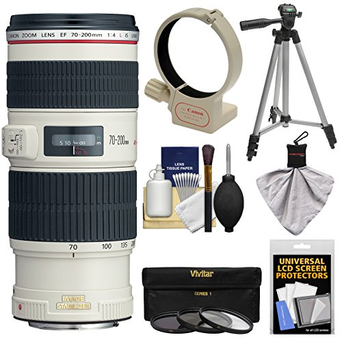 Canon EF 70-200mm f/4L IS USM Zoom Lens with 3 (UV/CPL/ND8) Filters + Tripod Mount Ring Collar + Tripod +...