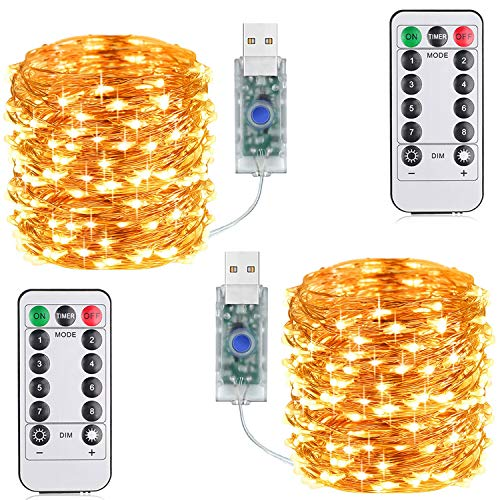 Suplong 33ft 100LED Copper Wire String Lights Fairy String Lights 8 Modes LED String Lights USB Powered with Remote Control for Wedding Party Home Christmas Decoration (Warm White)