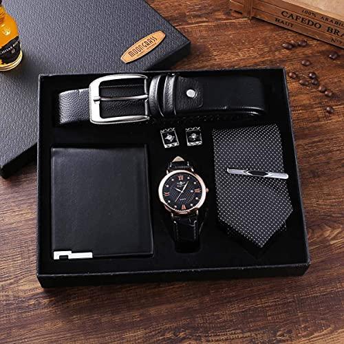 NOBUNO 5 UNIDS/Set Mens Conjunto de Regalo Hecho Pulsado de Cuero Corbata Corbata de cinturón Grande Dial Reloj de Cuarzo Gemelos Set Black Valentine's Day Regalo Boda,1