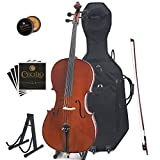 Cecilio CCO-500 Ebony Fitted Flamed Solid Wood Cello with Hard & Soft Case,...