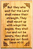 Bible Verse Fridge Magnets, Wings Like Eagles - Isaiah 40:31, 1.6' x 2.5' Olive Wood Religious Motivational Faith Magnets from Bethlehem, Home, Kitchen, & Office, Inspirational Scripture Décor