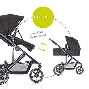 Hauck Pacific 3 Shop N Drive Kombikinderwagen 6 teilig bis 18 kg + Babyschale + Babywanne umbaubar zur wendbaren Sitzeinheit mit Beindecke, leicht, verstellbarer Griff, extra große Räder, schwarz
