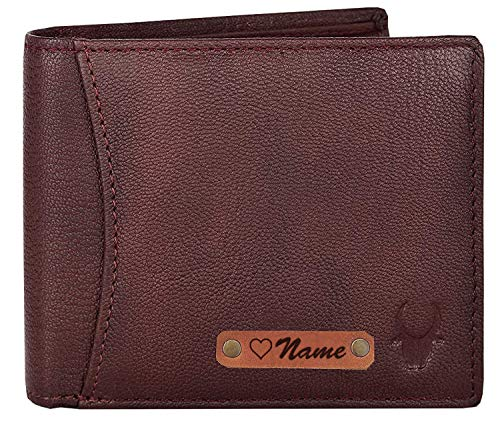 WILDHORN® RFID Protected Customizable Wallet for Gifting | Engrave with Your Name,Company Name or Initials (Maroon)