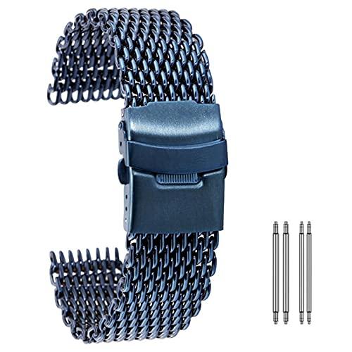 LCISCOUP Correa Reloj 18/20 / 22 / 24mm Malla Azul/Oro Rosa Correa de Acero Inoxidable Pulsera de Repuesto Correa de Seguridad Plegable de los Hombres (Band Color : Blue Color, Band Width : 22mm)
