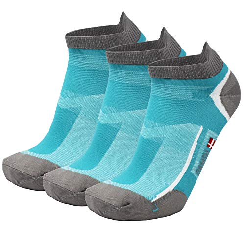 DANISH ENDURANCE Low-Cut Sportsocken (Karibik-Blau - 3 Paare, EU 39-42)