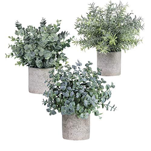 3 plantas artificiales en maceta, plantas artificiales de eucalipto para decorar escritorios, dormitorios, baños, ventanas, estanterías, cocinas, oficinas, etc.