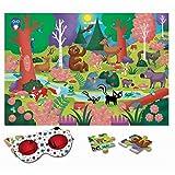 Ludattica Ludattica-74785 74785 Puzzle El Bosco The Forest con 24 Piezas y con Gafas Especiales, Multicolor, 50x35 cm (Educational