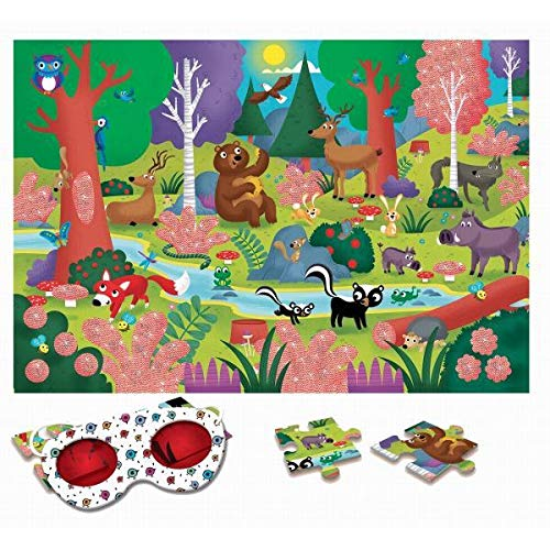 Ludattica-74785 Ludattica 74785 Puzzle El Bosco The Forest con 24 Piezas y con Gafas Especiales, Multicolor, 50x35 cm (Educational