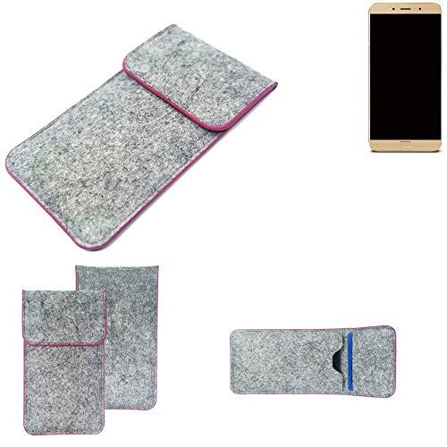 K-S-Trade Handy Schutz Hülle Für Allview X4 Soul Lite Schutzhülle Handyhülle Filztasche Pouch Tasche Hülle Sleeve Filzhülle Hellgrau Pinker Rand