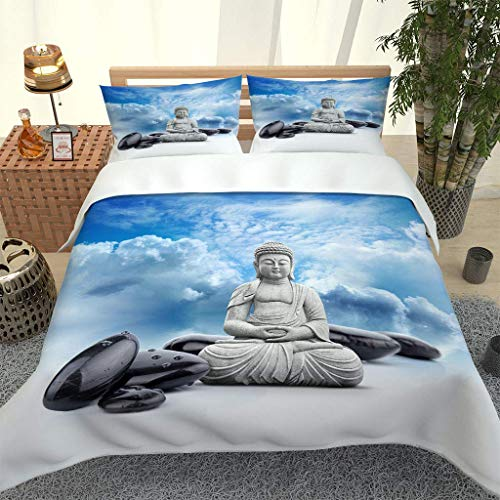 QHZCJ Blue Sky Buddha Creativity Duvet Cover Set California King with Zipper Closure, Soft Microfiber Printed Comforter Cover Bedding Sets with 2 Pillow Cases (98'x104')